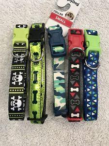Lot 5 Dog Collars Size S Triangles Bone Skull Crossbones Camouflage Designs  | eBay
