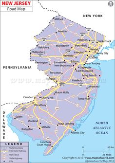 Road map of New Jersey with cities Maps Pinterest City