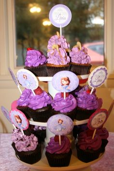 Cupcakes at a Sofia the First Party #sofiathefirst #party