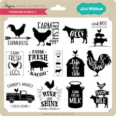 cricut vinyl projects Farmhouse Bundle SVG file for Silhouette, Cricut and other cutting machines. Cricut Air, Cricut Vinyl, Vinyl Decals, Circuit Projects, Vinyl Projects, Craft Projects, Paper Bag Scrapbook, Cricut Craft Room, Farm Signs
