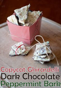 Copycat Ghirardelli Dark Chocolate and Peppermint Almond Bark