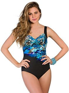 361ac824f7 Miraclesuit Women s Blue Attitude Sanibel One-Piece Blue Swimsuit 12 1  Piece Swimsuit