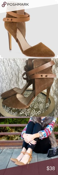 "JOE'S JEANS ""Laney"" Pointed Toe Strap Suede Heels Joe's Jeans pumps featuring open sides, pointed toe and luxurious brown suede. A wrapping strap uses studs to adjust the fit. 4"" heel. Worn gently. Excellent condition. Joe's Jeans Shoes Heels"