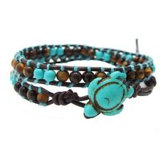AeraVida Ocean Sea Turtle Reconstructed Turquoise Double Wrap Leather... ($27) ❤ liked on Polyvore featuring jewelry, bracelets, wrap bracelet, leather jewelry, handcrafted jewellery, turquoise jewellery and knot bangle