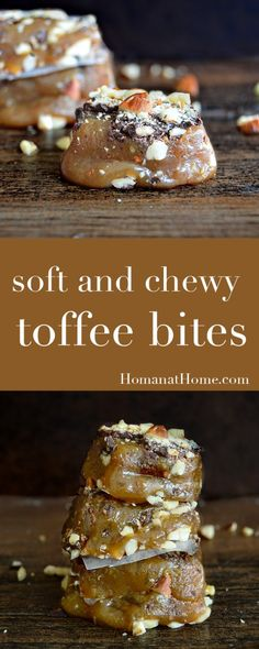 Soft and Chewy Toffee Bites A gooey layer of buttery caramel topped with chocolate and crushed almonds. The perfect toffee recipe – practically no-fail! Homemade Toffee, Homemade Candies, Brittle Recipes, Caramel Recipes, Candy Recipes, Toffee Candy, Toffee Bark, Almond Toffee, Sweets