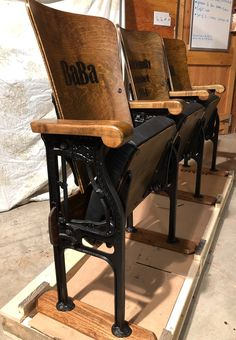 Accepting Custom Orders- Old Theatre Chairs Theater Seats Opera Seats Cinema Chairs Movie Seats Church Pew Wood Bench with Back Cinema Chairs, Movie Chairs, Cinema Seats, Vintage Movie Theater, Vintage Movies, Dining Room Bench, Dining Room Walls, Wood Bench With Back, Auditorium Chairs