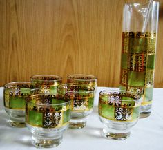 Martini Set- by Culver LTD - American Century Green and Gold 6 Glass/Mixer & Stir Stick Martini Set, Mid Century Bar, Stir Sticks, Atomic Age, Green And Gold, Mixer, Shot Glass, Barware, Mid-century Modern