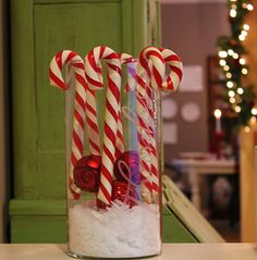Candy cane christmas decorating with jumbo candy canes from Costco