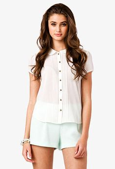 Pintucked Pleated Chiffon Shirt | FOREVER 21 - 2035447944