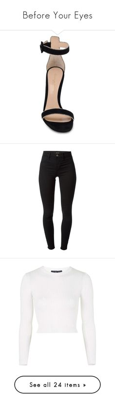 """""""Before Your Eyes"""" by justice-ellis ❤ liked on Polyvore featuring shoes, sandals, heels, buckle shoes, spiked heel shoes, ankle wrap sandals, leather ankle strap sandals, leather heeled sandals, pants and leggings"""