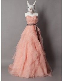 Stunning sweetheart coral color organza layered skirt a-line court train wedding dresses with chocolate satin sash TB-482