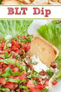 Creamy BLT dip topped with layers of shredded lettuce, chopped bacon and diced tomatoes creates a fun twist on the traditional BLT sandwich. Easy appetizer or snack recipe for a potluck, party, holiday, summer BBQ or game day. Make ahead option too. #dips #appetizers #gameday #potluck #partyfood #bacon #summer Dip Recipes, Appetizer Recipes, Snack Recipes, Snacks, Canning Diced Tomatoes, Party Sandwiches, Tomato Sandwich, Summer Bbq, Appetizers For Party