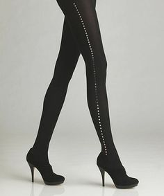 Look what I found on #zulily! Black Tuxedo Opaque Tights by Via Spiga #zulilyfinds
