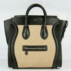 Celine 2011 spring apricot and black calfskin tote bag 0192
