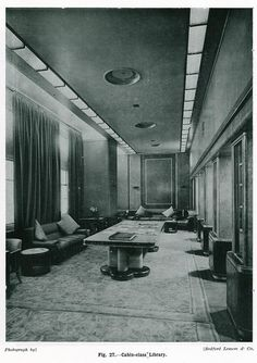 Cunard's RMS Queen Mary, Cabin class Library.