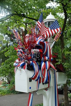 Decorate your mailbox for Fourth of July with flags, ribbons...