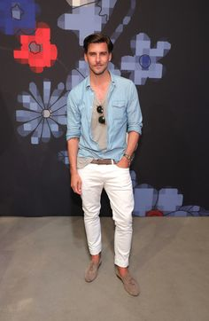 Model Johannes Huebl during Tommy Hilfiger Spring 2017 Men's Tailored Collection Presentation at Skylight at 60 10th Avenue on July 6, 2016 in New York City.