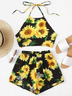 #Spring #AdoreWe #ROMWE - #ROMWE Sunflower Print Halter Top With Shorts - AdoreWe.com