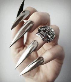 Silver chrome press on set - Perfect 10 Custom Nails Fabulous Nails, Perfect Nails, Gorgeous Nails, Pretty Nails, Perfect 10, Witchy Nails, Goth Nails, Sexy Nails, Long Stiletto Nails