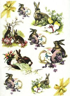 Ricepaper/Decoupage paper, Scrapbooking Sheets Vintage Easter White Rabbit