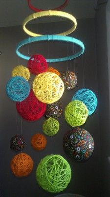 MultiColor Yarn & Fabric Ball Baby Mobile - easy to make. Fun pop of color. Baby Crafts, Craft Projects, Crafts For Kids, Projects To Try, Fabric Balls, Suncatcher, Yarn Ball, Diy Arts And Crafts, Yarn Colors