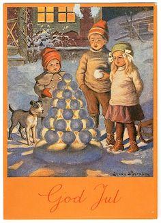 God Jul postcard, by Jenny Nyström.