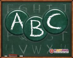 CHALKBOARD Alphabet 1 inch circles Digital Collage by KARTINKAshop, $3.50