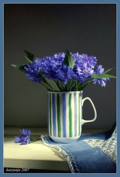 Cup with blue flowers