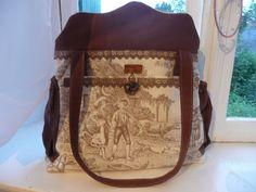 un joli sac à main grande taille toile de Jouy : Sacs à main par universdemaud