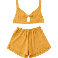 Bow Tied Bralette Top And High Waisted Shorts Set (59 RON) ❤ liked on Polyvore featuring high waisted two piece