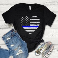 Blue Lives Matter V-Neck T-shirt - Wify Shirt - Ideas of Wify Shirt - Blue Lives Matter V-Neck T-shirt Thin Blue Line American Flag Shirt Heart shaped American Flag Back the Blue Police Wife Police Officer Police Wife, Police Officer, Back The Blue Shirt, Police Outfit, Cute Country Outfits, Police Shirts, Boxing T Shirts, Vinyl Shirts, Flag Shirt