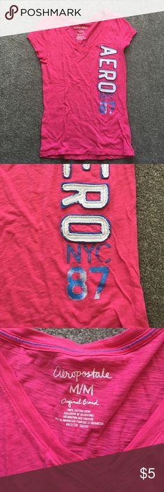 Aeropostale short sleeve shirt This has no flaws except for some fading shown I second picture in the #s. 20% off bundles and excepting all reasonable offers Aeropostale Tops Tees - Short Sleeve
