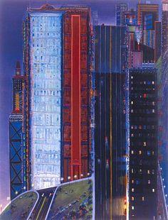 """Dark City"" oil on canvas by Wayne Thiebaud x Photo: Ira Shrank, Sixth Street Studio, Paul Thiebaud Gallery Strange Magic, Pop Art Movement, Dark City, Museum, Urban Landscape, Art Plastique, American Artists, Urban Art, Les Oeuvres"