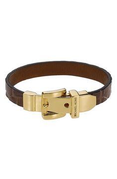 MK Leather Buckle Bracelet