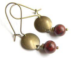 Red Brass Earrings on Etsy, $9.99