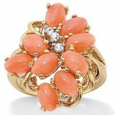 Oval-Shaped Genuine Coral 18k Yellow Gold Over Sterling Silver Cluster Cocktail Ring Angelina D'Andrea. $49.99