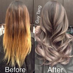 Silver Grey Ombre Hair Make-Over by Guy Tang! I love this Ombre hair! Grey Ombre Hair, Blonde Ombre, Silver Ombre, Brown To Grey Ombre, Silver Blonde, Ash Grey, Lightest Brown Hair Color, Ash Ombre, Light Brown Ombre