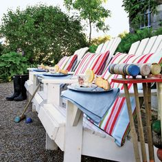 adirondack chairs, pillow, cottag, mothers day, lawn games, backyard parties, lake, garden, croquet