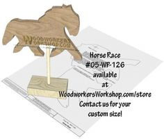 05-WP-126 - Horse Race Downloadable Scrollsaw Woodworking Plan PDF. Easy as Print-Trace-Cut. Here we have our simple-to-make carousel Horse Racer. Make use of your scrap wood pieces with this 8-1/4 x 5-1/2 inch pattern. Simply size it to how you like and print it to your computer. Beginner skill level scroll sawing pattern.