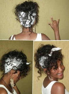 Curly hair with bandana!  Love this look!