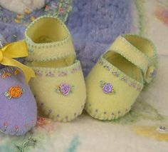 Felted baby shoes.