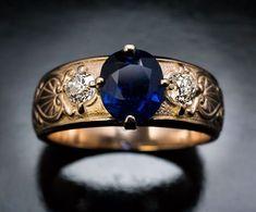 Antique Three Stone Sapphire Diamond Gold Unisex Ring - Antique Jewelry | Vintage Rings | Faberge Eggs #jewelryvintage