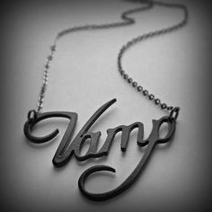 Vampire jewelry  text necklace  silver tone by UntamedMenagerie, $22.00