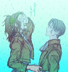*let's go of you, breaking down into silent sobs as I hide my face from you* D-don't look at me... Not now, Levi...
