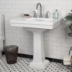 """Markley Pedestal Sink with 8"""" Centers.  Possiblility for bathroom remod."""