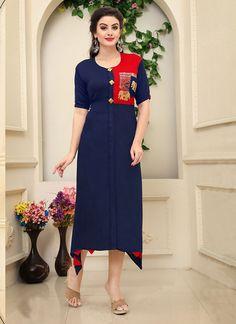 Navy blue ready made kurti. Check Dress, Buy Dress, Classy Outfits, Chic Outfits, Trendy Kurti, Girls Dresses Sewing, Recycled Dress, Kurta Designs, Indian Designer Wear