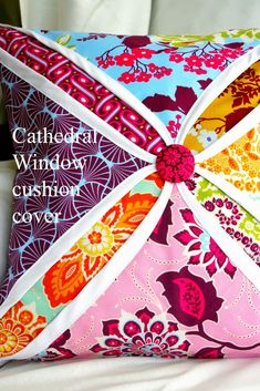 Cathedral Window cushion cover @ http://www.gogokim.com/p/tutorials.html ; Clm: dld tutorial