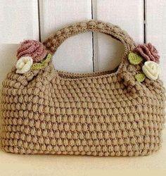 Crochet beige purse ♥LCB-MRS♥ with diagram. --- Вязаная крючком сумочка