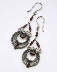 Garnet and oxidized silver chandelier earrings.