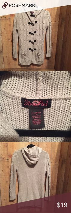"""ULTRA FLIRT Sweater sz S Gray Cardigan with hood and 2 front pockets.  Black toggle front closure.  Warm 100% Acrylic.  Size small, measures approx 16"""" across x 32"""" long.  Excellent pre-owned condition. Ultra Flirt Sweaters Cardigans"""